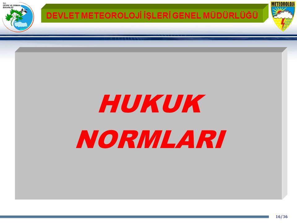 16/36 DEVLET METEOROLOJİ İŞLERİ GENEL MÜDÜRLÜĞÜ HUKUK NORMLARI