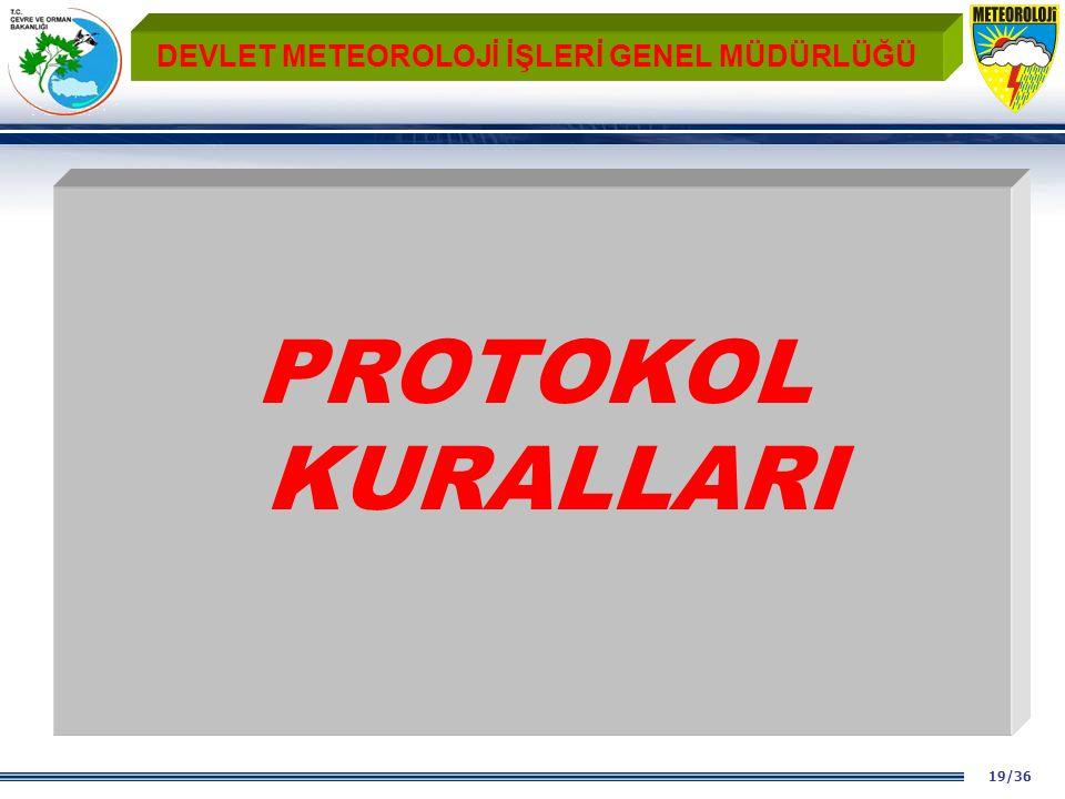 19/36 DEVLET METEOROLOJİ İŞLERİ GENEL MÜDÜRLÜĞÜ PROTOKOL KURALLARI