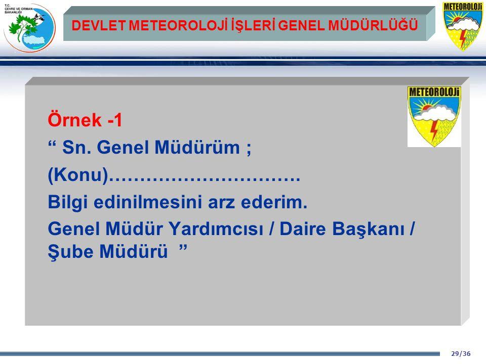 29/36 DEVLET METEOROLOJİ İŞLERİ GENEL MÜDÜRLÜĞÜ Örnek -1 Sn.