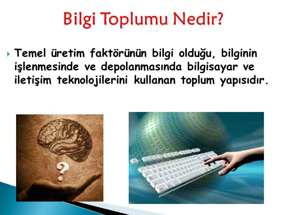  Temel üretim faktörünün bilgi olduğu, bilginin işlenmesinde ve depolanmasında bilgisayar ve iletişim teknolojilerini kullanan toplum yapısıdır.