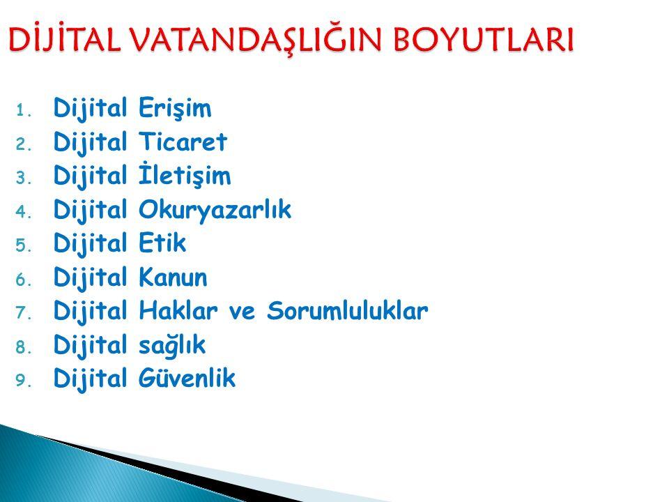 1. Dijital Erişim 2. Dijital Ticaret 3. Dijital İletişim 4. Dijital Okuryazarlık 5. Dijital Etik 6. Dijital Kanun 7. Dijital Haklar ve Sorumluluklar 8