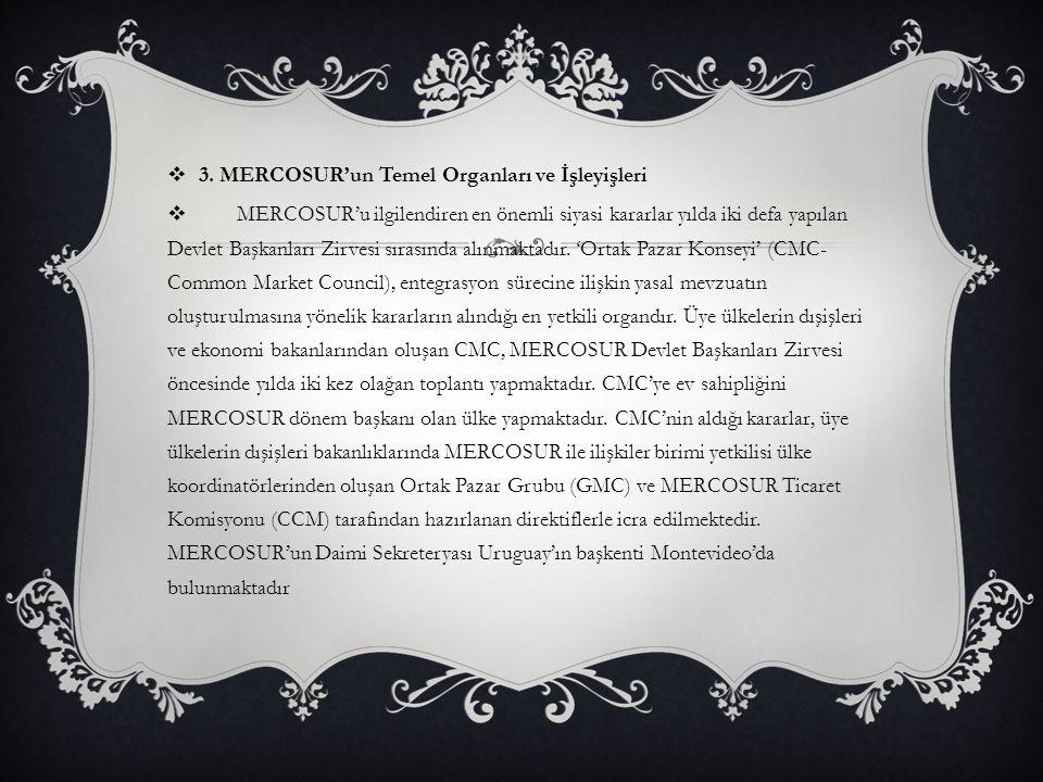  3. MERCOSUR'un Temel Organları ve İşleyişleri  MERCOSUR'u ilgilendiren en önemli siyasi kararlar yılda iki defa yapılan Devlet Başkanları Zirvesi s
