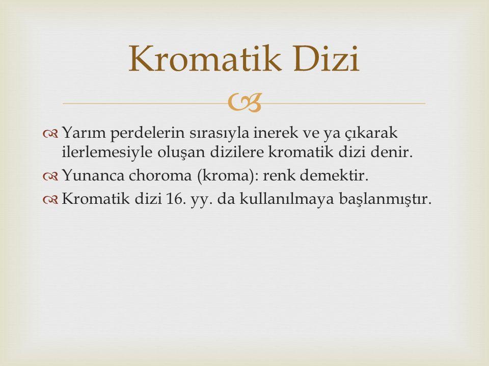   Yarım perdelerin sırasıyla inerek ve ya çıkarak ilerlemesiyle oluşan dizilere kromatik dizi denir.  Yunanca choroma (kroma): renk demektir.  Kro