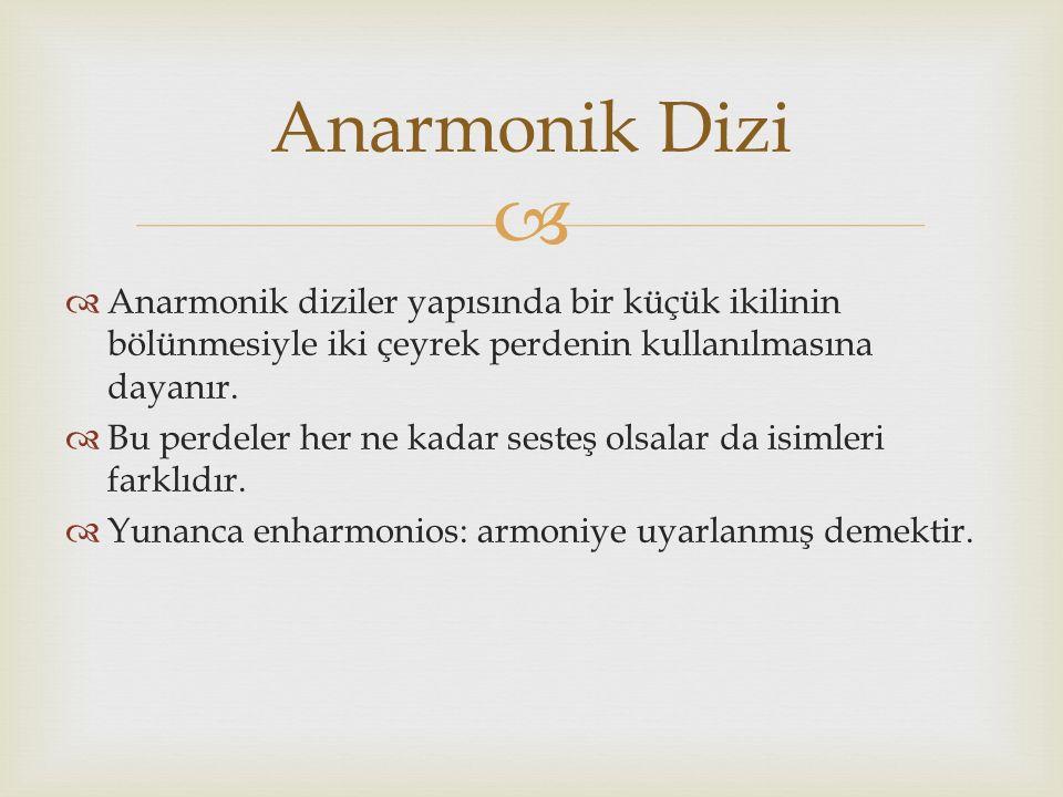   Anarmonik diziler yapısında bir küçük ikilinin bölünmesiyle iki çeyrek perdenin kullanılmasına dayanır.