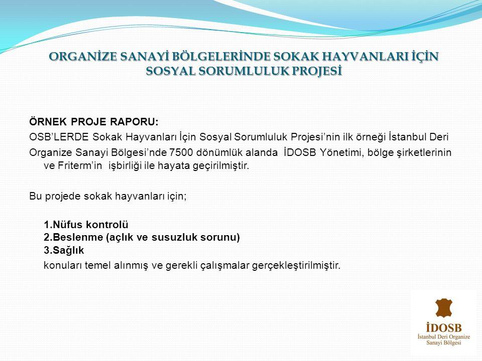 ÖRNEK PROJE RAPORU: OSB'LERDE Sokak Hayvanları İçin Sosyal Sorumluluk Projesi'nin ilk örneği İstanbul Deri Organize Sanayi Bölgesi'nde 7500 dönümlük a