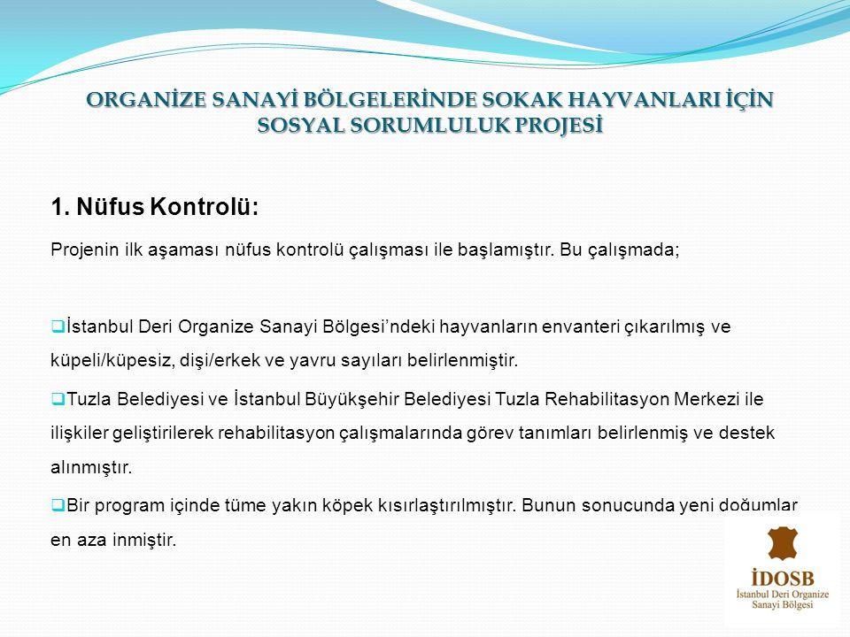 1. Nüfus Kontrolü: Projenin ilk aşaması nüfus kontrolü çalışması ile başlamıştır. Bu çalışmada;  İstanbul Deri Organize Sanayi Bölgesi'ndeki hayvanla