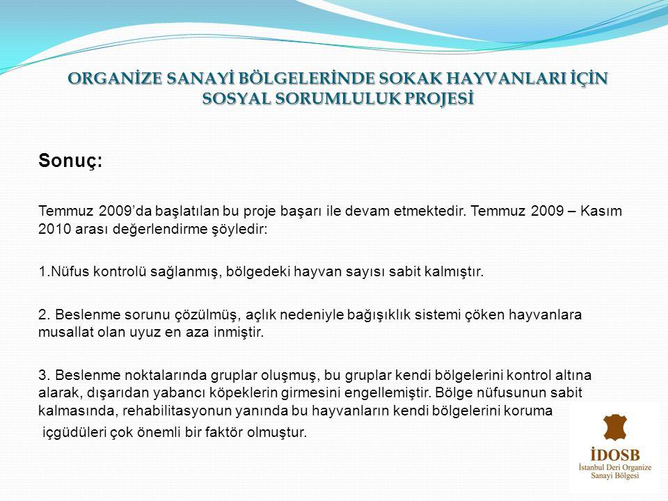 Sonuç: Temmuz 2009'da başlatılan bu proje başarı ile devam etmektedir. Temmuz 2009 – Kasım 2010 arası değerlendirme şöyledir: 1.Nüfus kontrolü sağlanm