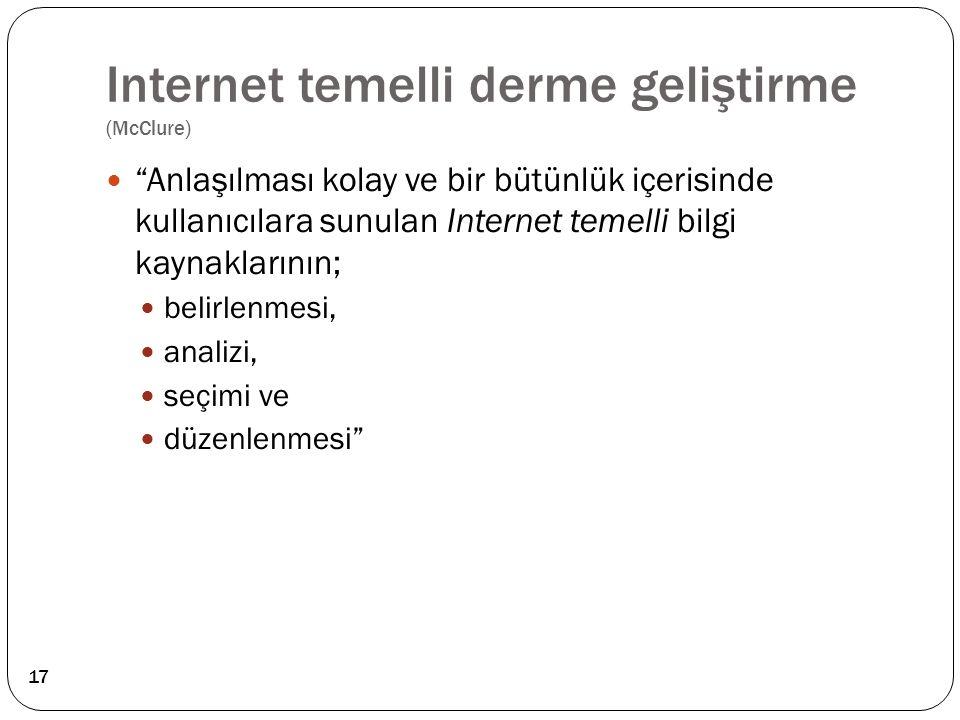 """Internet temelli derme geliştirme (McClure) """"Anlaşılması kolay ve bir bütünlük içerisinde kullanıcılara sunulan Internet temelli bilgi kaynaklarının;"""