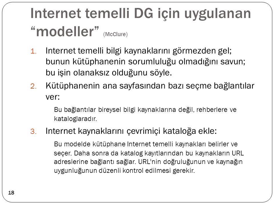 """Internet temelli DG için uygulanan """"modeller"""" (McClure) 1. Internet temelli bilgi kaynaklarını görmezden gel; bunun kütüphanenin sorumluluğu olmadığın"""
