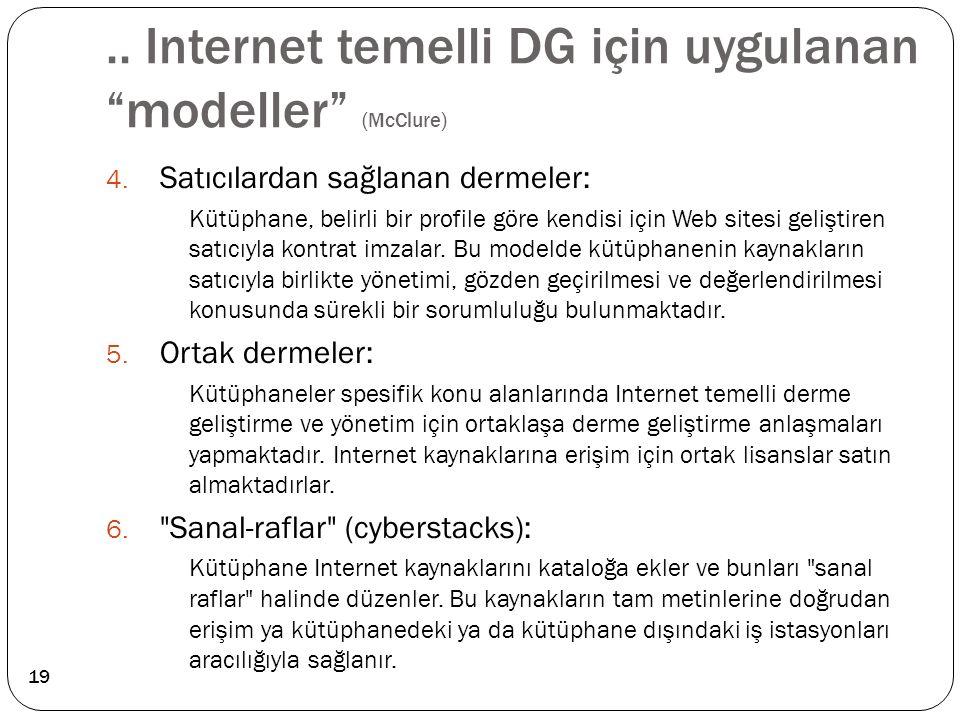 """.. Internet temelli DG için uygulanan """"modeller"""" (McClure) 4. Satıcılardan sağlanan dermeler: Kütüphane, belirli bir profile göre kendisi için Web sit"""