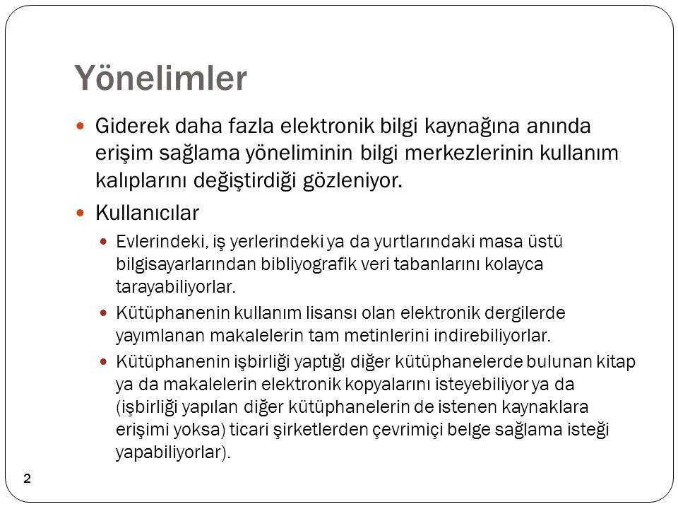 Kaynaklar ve okuma listesi: Tonta, Y.(2003).