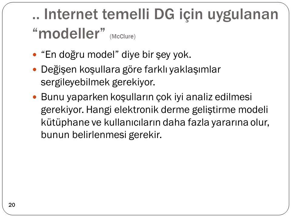 """.. Internet temelli DG için uygulanan """"modeller"""" (McClure) """"En doğru model"""" diye bir şey yok. Değişen koşullara göre farklı yaklaşımlar sergileyebilme"""
