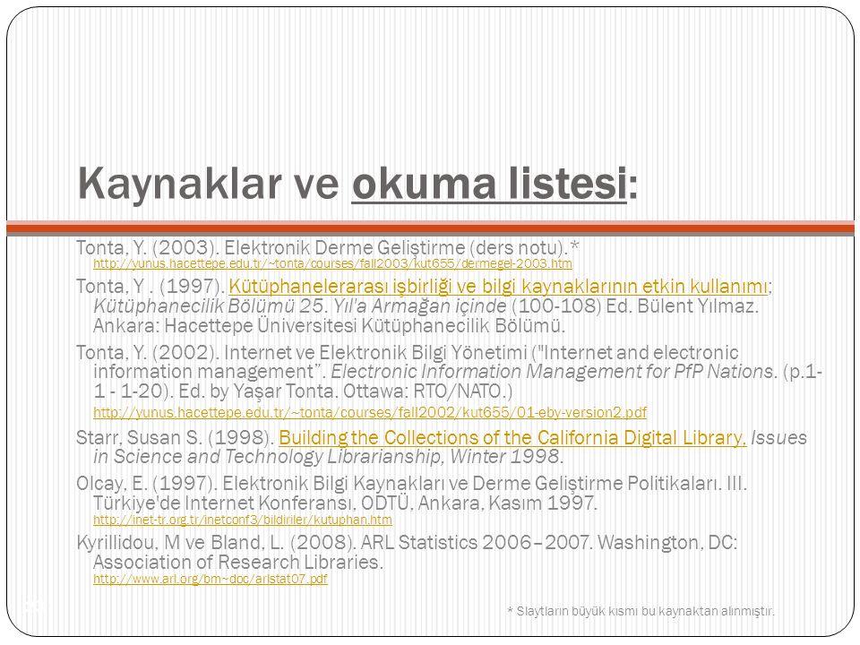 Kaynaklar ve okuma listesi: Tonta, Y. (2003). Elektronik Derme Geliştirme (ders notu).* http://yunus.hacettepe.edu.tr/~tonta/courses/fall2003/kut655/d