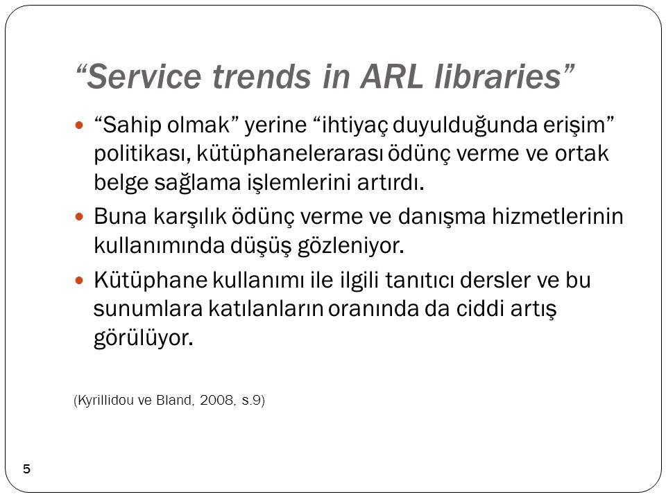 """""""Service trends in ARL libraries"""" """"Sahip olmak"""" yerine """"ihtiyaç duyulduğunda erişim"""" politikası, kütüphanelerarası ödünç verme ve ortak belge sağlama"""