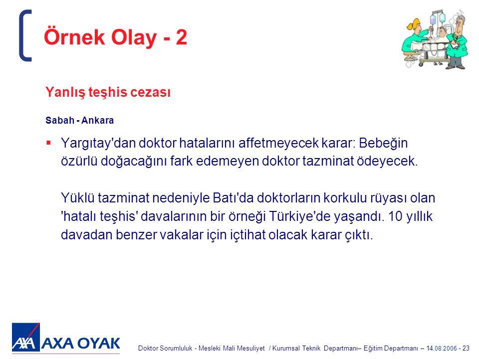 Doktor Sorumluluk - Mesleki Mali Mesuliyet / Kurumsal Teknik Departmanı– Eğitim Departmanı – 14.08.2006 - 23 Yanlış teşhis cezası Sabah - Ankara  Yar
