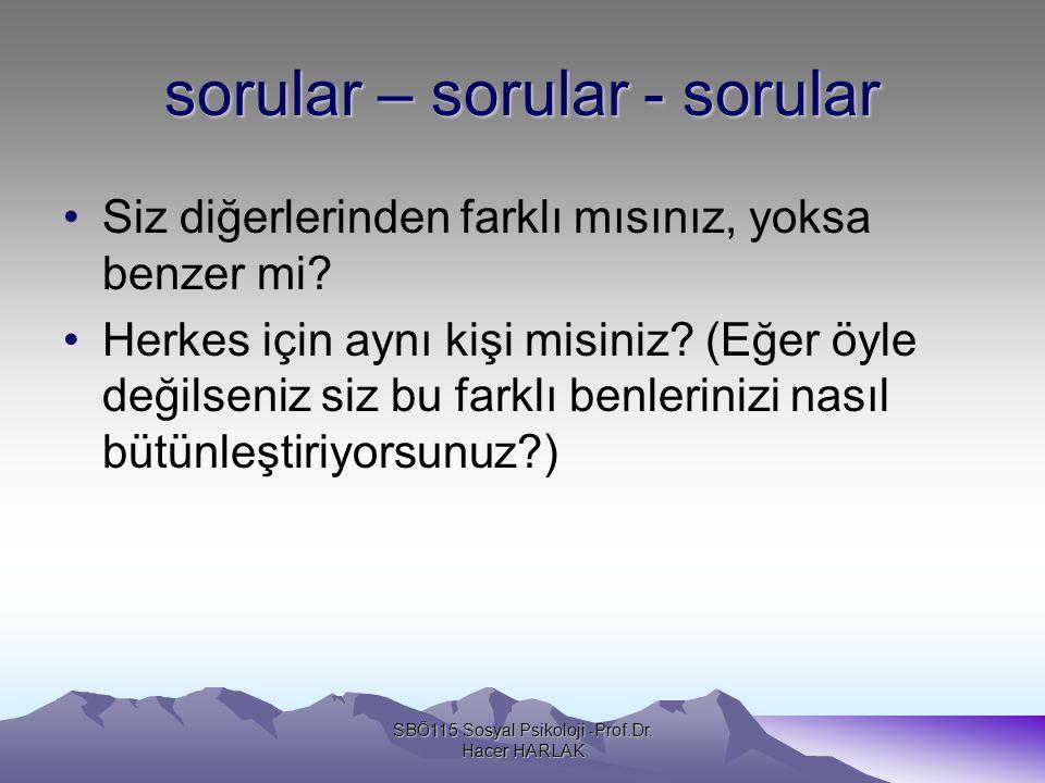 Benlik güdüleri SBÖ115 Sosyal Psikoloji -Prof.Dr. Hacer HARLAK