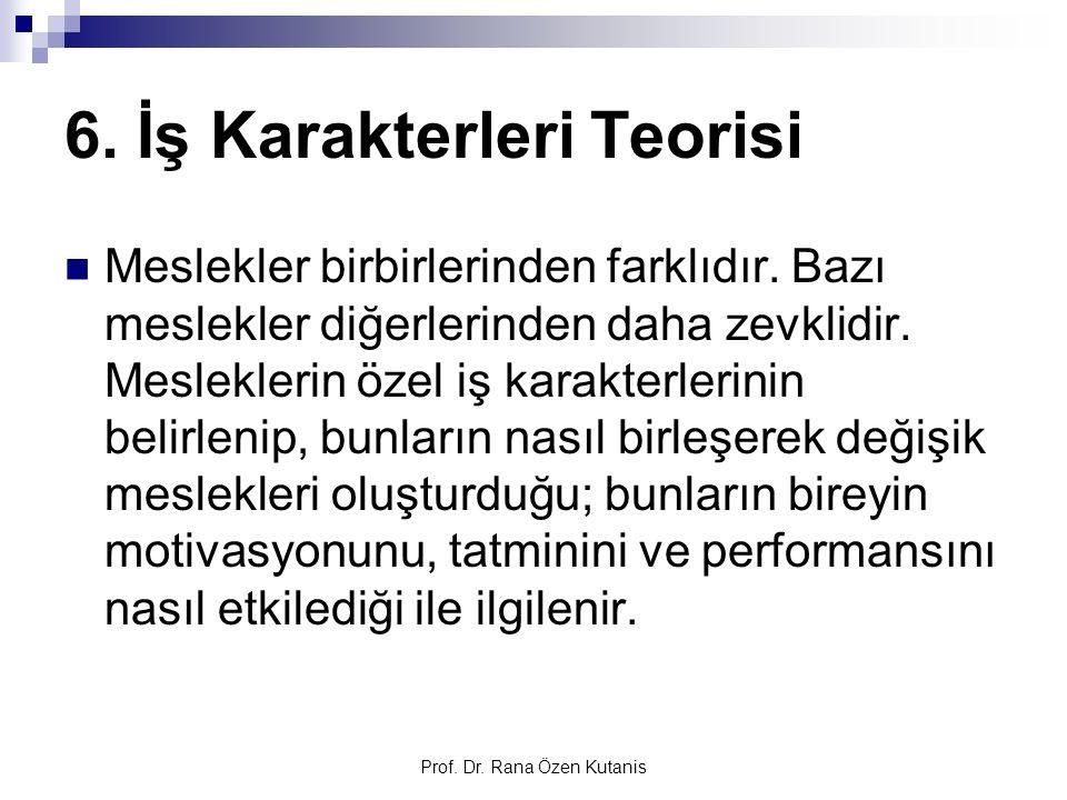 Prof. Dr. Rana Özen Kutanis 6. İş Karakterleri Teorisi Meslekler birbirlerinden farklıdır. Bazı meslekler diğerlerinden daha zevklidir. Mesleklerin öz