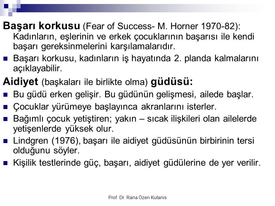 Prof. Dr. Rana Özen Kutanis Başarı korkusu (Fear of Success- M. Horner 1970-82): Kadınların, eşlerinin ve erkek çocuklarının başarısı ile kendi başarı