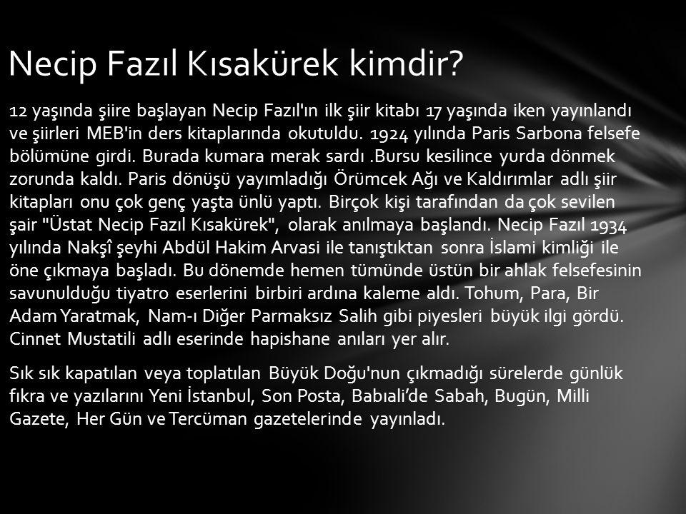 12 yaşında şiire başlayan Necip Fazıl'ın ilk şiir kitabı 17 yaşında iken yayınlandı ve şiirleri MEB'in ders kitaplarında okutuldu. 1924 yılında Paris