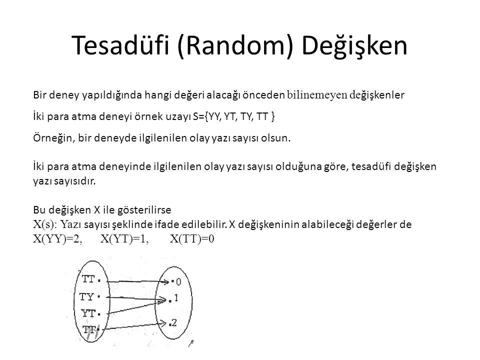 Tesadüfi (Random) Değişken Bir deney yapıldığında hangi değeri alacağı önceden bilinemeyen de ğişkenler İki para atma deneyi örnek uzayı S={YY, YT, TY, TT } Örneğin, bir deneyde ilgilenilen olay yazı sayısı olsun.