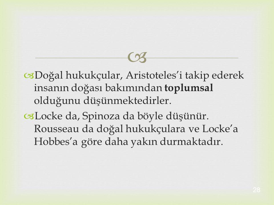   Doğal hukukçular, Aristoteles'i takip ederek insanın doğası bakımından toplumsal olduğunu düşünmektedirler.  Locke da, Spinoza da böyle düşünür.