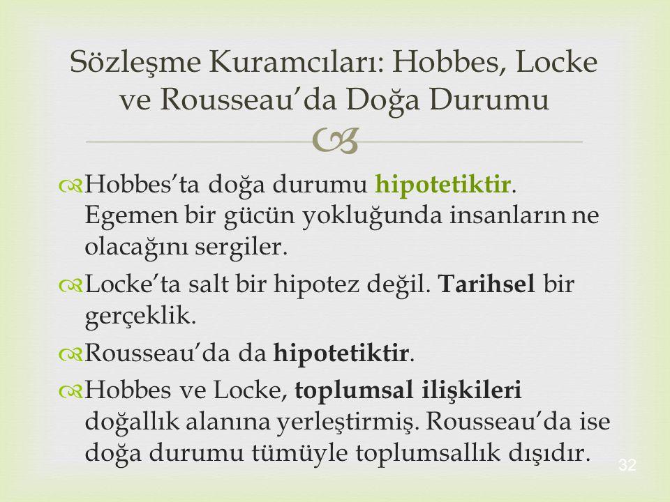   Hobbes'ta doğa durumu hipotetiktir. Egemen bir gücün yokluğunda insanların ne olacağını sergiler.  Locke'ta salt bir hipotez değil. Tarihsel bir