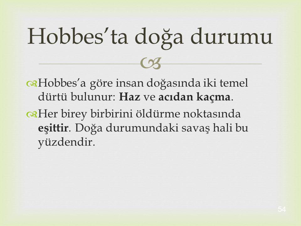   Hobbes'a göre insan doğasında iki temel dürtü bulunur: Haz ve acıdan kaçma.  Her birey birbirini öldürme noktasında eşittir. Doğa durumundaki sav