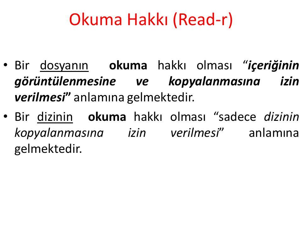 Okuma Hakkı (Read-r) Bir dosyanın okuma hakkı olması içeriğinin görüntülenmesine ve kopyalanmasına izin verilmesi anlamına gelmektedir.