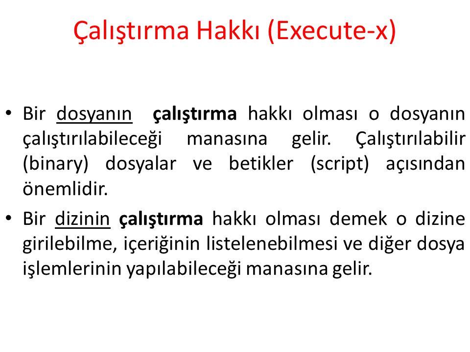 Çalıştırma Hakkı (Execute-x) Bir dosyanın çalıştırma hakkı olması o dosyanın çalıştırılabileceği manasına gelir.