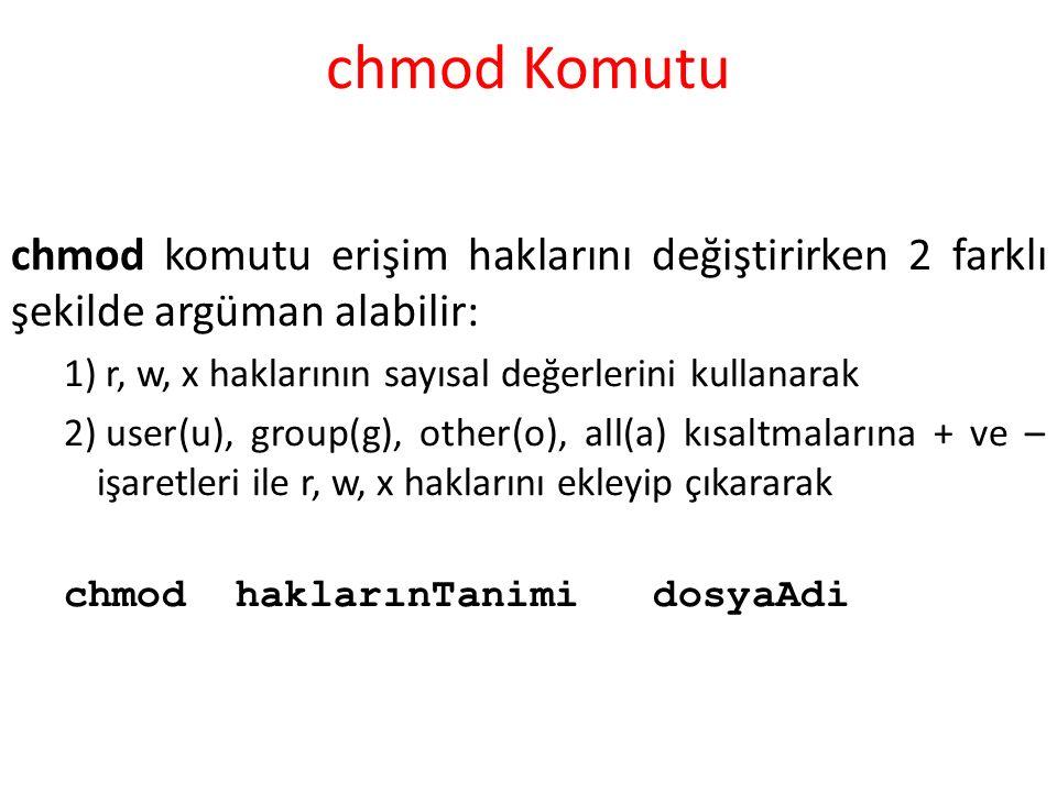 chmod Komutu chmod komutu erişim haklarını değiştirirken 2 farklı şekilde argüman alabilir: 1) r, w, x haklarının sayısal değerlerini kullanarak 2) user(u), group(g), other(o), all(a) kısaltmalarına + ve – işaretleri ile r, w, x haklarını ekleyip çıkararak chmod haklarınTanimi dosyaAdi