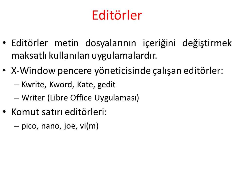 Editörler Editörler metin dosyalarının içeriğini değiştirmek maksatlı kullanılan uygulamalardır.