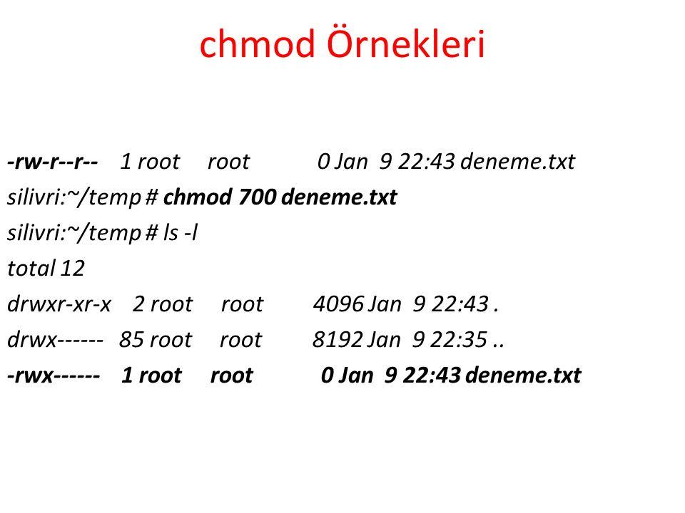 chmod Örnekleri -rw-r--r-- 1 root root 0 Jan 9 22:43 deneme.txt silivri:~/temp # chmod 700 deneme.txt silivri:~/temp # ls -l total 12 drwxr-xr-x 2 root root 4096 Jan 9 22:43.