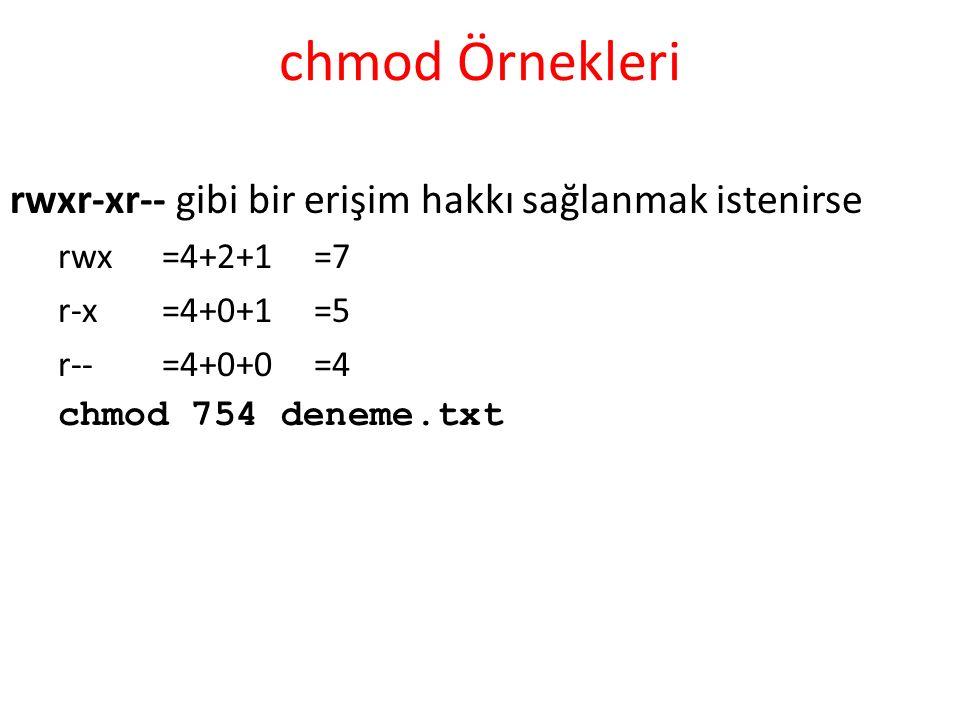 chmod Örnekleri rwxr-xr-- gibi bir erişim hakkı sağlanmak istenirse rwx=4+2+1=7 r-x=4+0+1=5 r--=4+0+0=4 chmod 754 deneme.txt