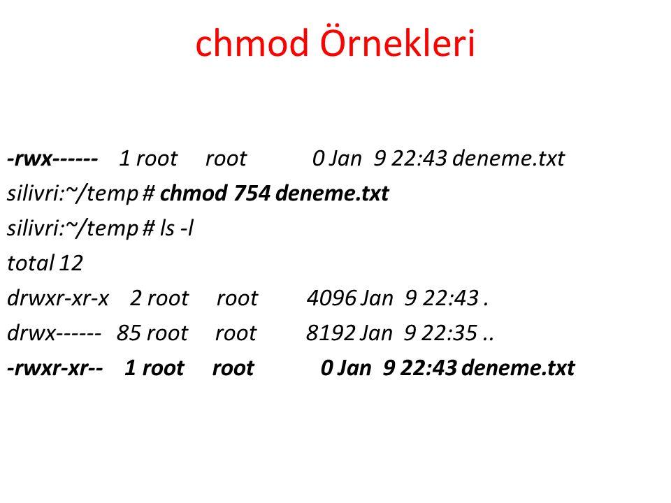 chmod Örnekleri -rwx------ 1 root root 0 Jan 9 22:43 deneme.txt silivri:~/temp # chmod 754 deneme.txt silivri:~/temp # ls -l total 12 drwxr-xr-x 2 root root 4096 Jan 9 22:43.