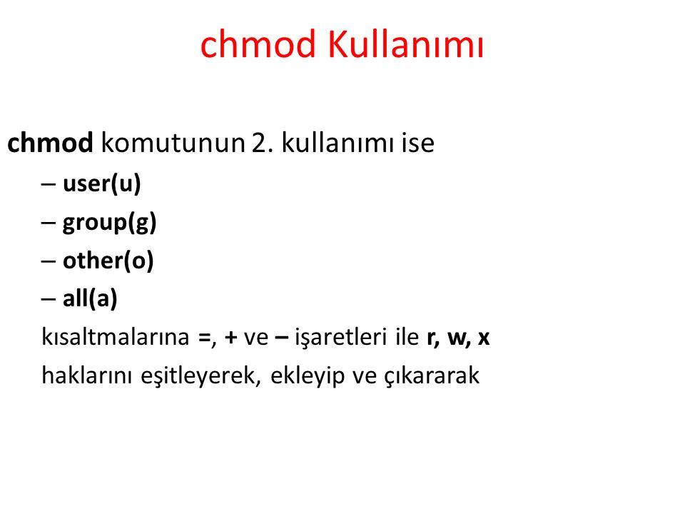 chmod Kullanımı chmod komutunun 2.