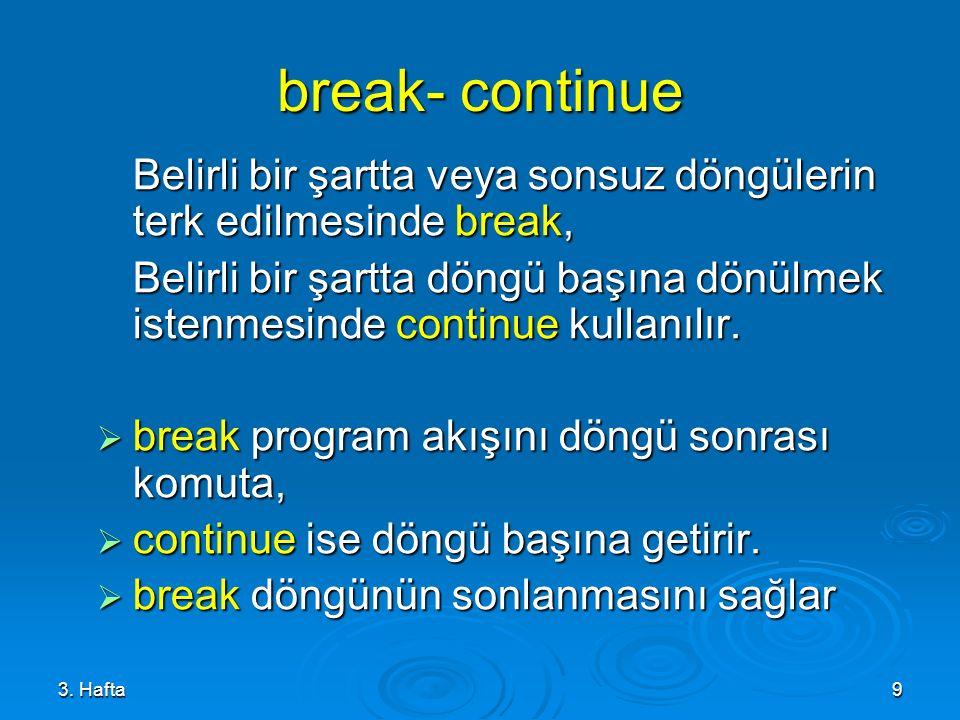 3. Hafta9 break- continue Belirli bir şartta veya sonsuz döngülerin terk edilmesinde break, Belirli bir şartta döngü başına dönülmek istenmesinde cont