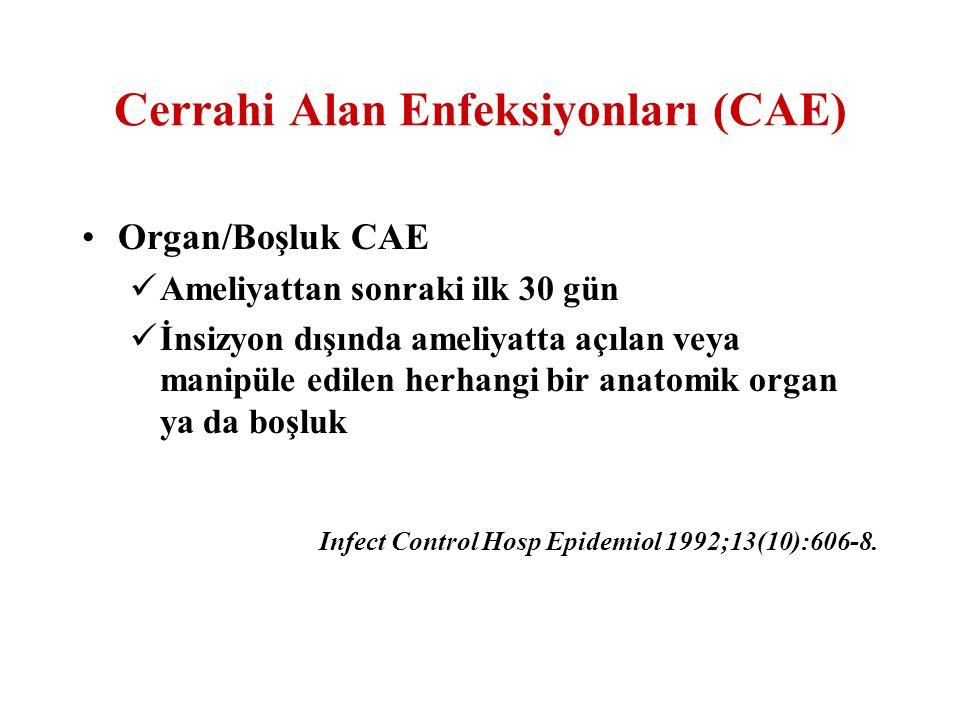 Organ/Boşluk CAE-1 Arteriyel veya venöz enfeksiyon Endokardit Miyokardit veya perikardit Meme absesi veya mastit Göz (konjunktivit dışında) Eklem veya bursa Kulak, mastoid Ağız boşluğu Üst solunum yolları Sinüzit Diğer alt solunum yolu enfeksiyonları