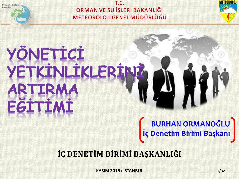 KASIM 2015 / İSTANBUL İÇ DENETİM BİRİMİ BAŞKANLIĞI BURHAN ORMANOĞLU İç Denetim Birimi Başkanı 1/32
