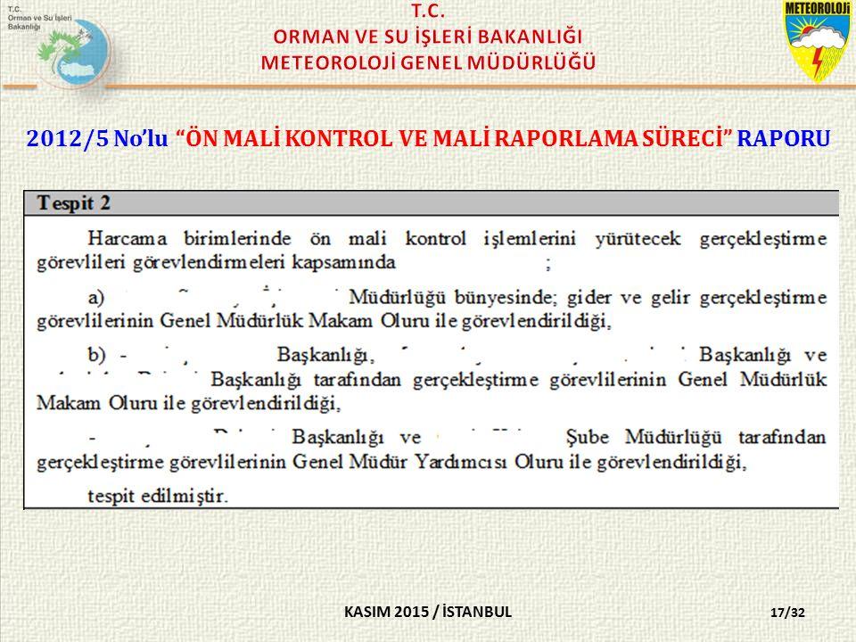 KASIM 2015 / İSTANBUL 2012/5 No'lu ÖN MALİ KONTROL VE MALİ RAPORLAMA SÜRECİ RAPORU 17/32