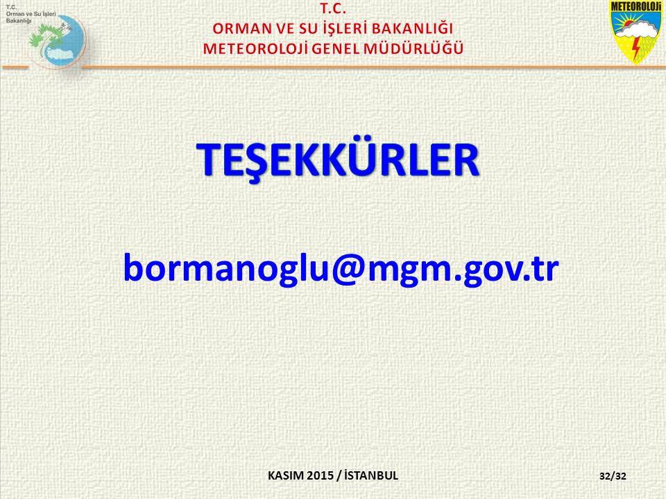 KASIM 2015 / İSTANBUL 32/32 bormanoglu@mgm.gov.tr