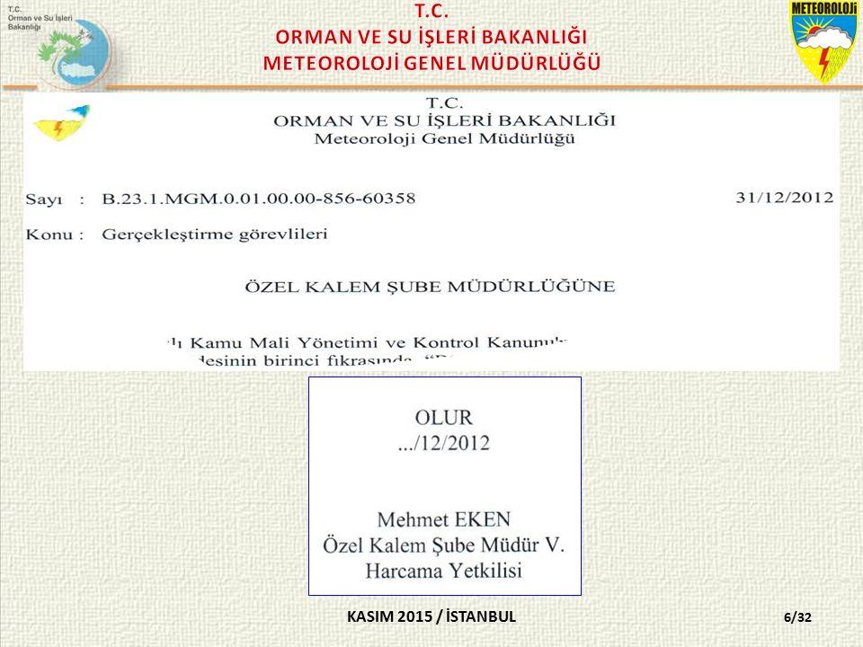 KASIM 2015 / İSTANBUL 2014/G/3 No'lu BÜTÇE HAZIRLAMA VE UYGULAMA İŞLEMLERİ SÜRECİ RAPORU 27/32