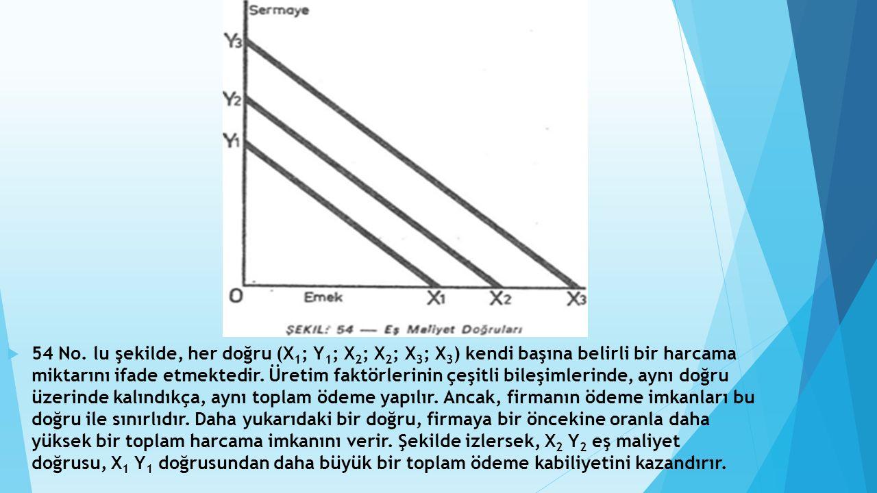  54 No. lu şekilde, her doğru (X 1 ; Y 1 ; X 2 ; X 2 ; X 3 ; X 3 ) kendi başına belirli bir harcama miktarını ifade etmektedir. Üretim faktörlerinin