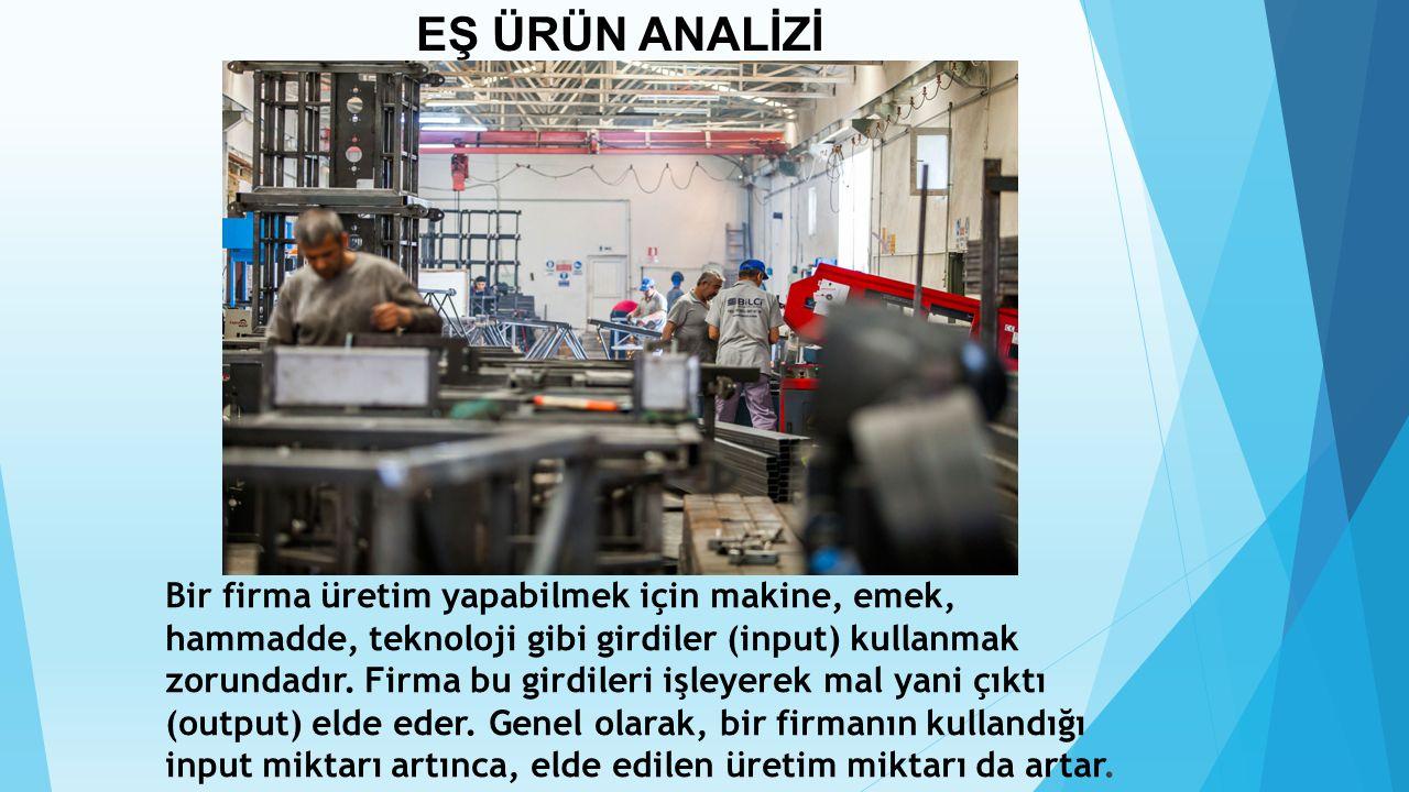 Bir firma üretim yapabilmek için makine, emek, hammadde, teknoloji gibi girdiler (input) kullanmak zorundadır. Firma bu girdileri işleyerek mal yani ç