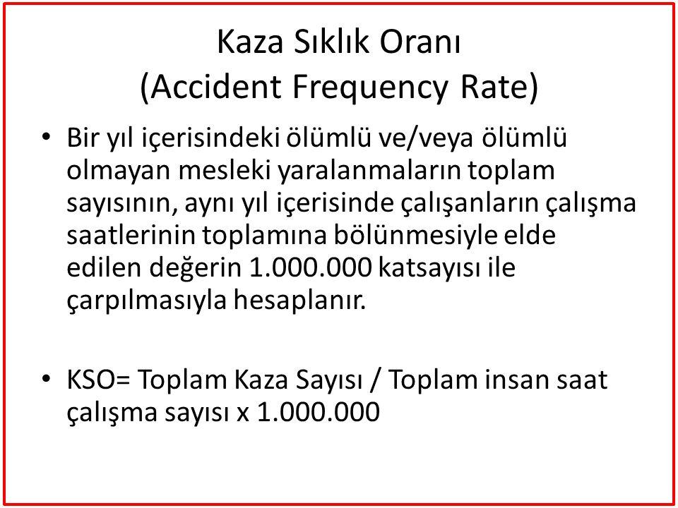 Kaza Sıklık Oranı (Accident Frequency Rate) Bir yıl içerisindeki ölümlü ve/veya ölümlü olmayan mesleki yaralanmaların toplam sayısının, aynı yıl içeri