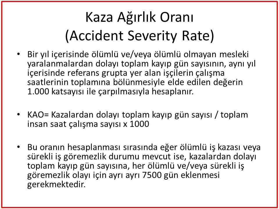 Kaza Ağırlık Oranı (Accident Severity Rate) Bir yıl içerisinde ölümlü ve/veya ölümlü olmayan mesleki yaralanmalardan dolayı toplam kayıp gün sayısının