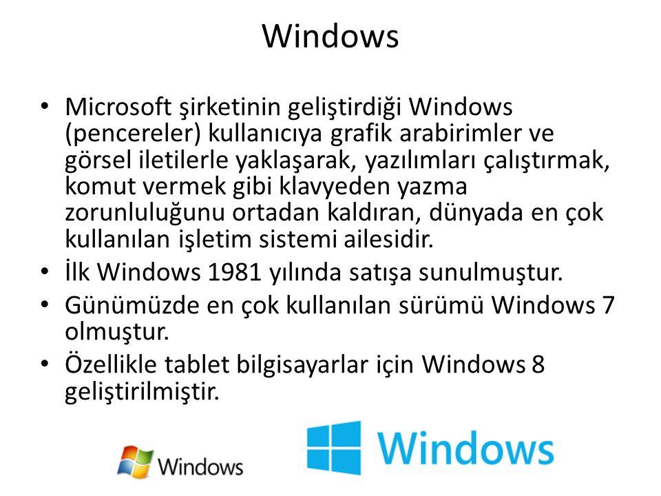 Windows Microsoft şirketinin geliştirdiği Windows (pencereler) kullanıcıya grafik arabirimler ve görsel iletilerle yaklaşarak, yazılımları çalıştırmak, komut vermek gibi klavyeden yazma zorunluluğunu ortadan kaldıran, dünyada en çok kullanılan işletim sistemi ailesidir.