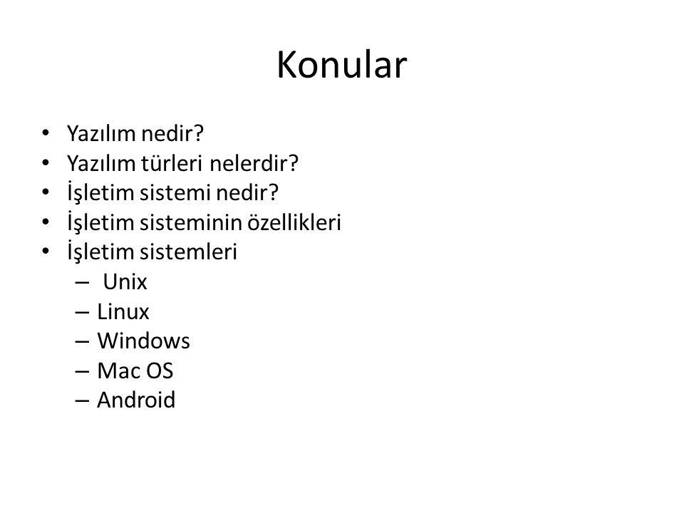 Konular Yazılım nedir. Yazılım türleri nelerdir. İşletim sistemi nedir.
