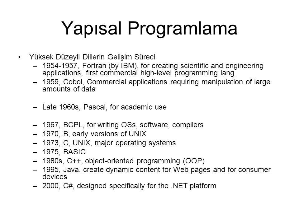 Yapısal Programlama Yüksek Düzeyli Dillerin Gelişim Süreci –1954-1957, Fortran (by IBM), for creating scientific and engineering applications, first commercial high-level programming lang.
