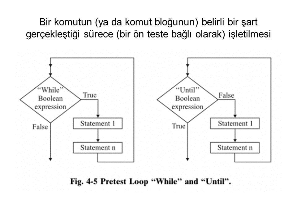 Bir komutun (ya da komut bloğunun) belirli bir şart gerçekleştiği sürece (bir ön teste bağlı olarak) işletilmesi