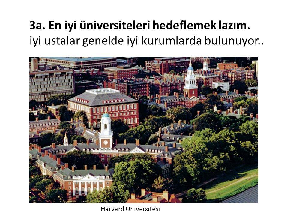 3a. En iyi üniversiteleri hedeflemek lazım. iyi ustalar genelde iyi kurumlarda bulunuyor.. Harvard Universitesi